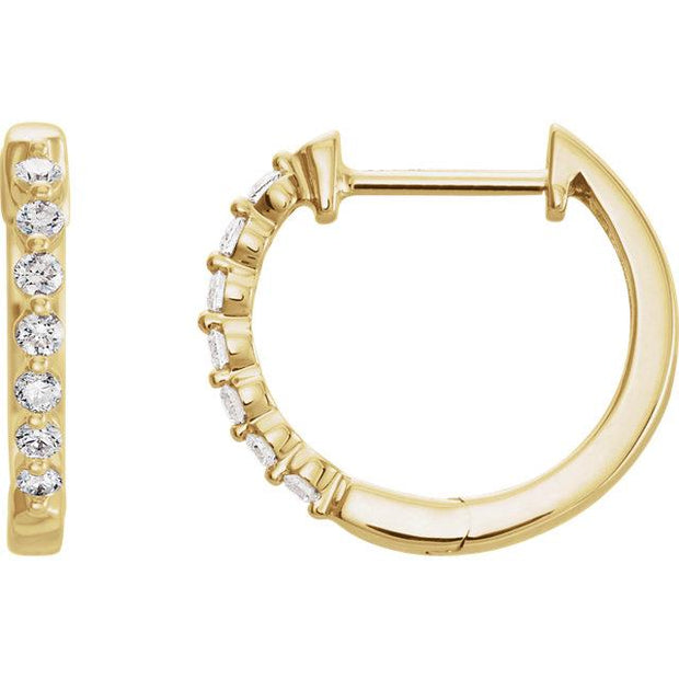 yellow gold diamond encrusted huggie hoops