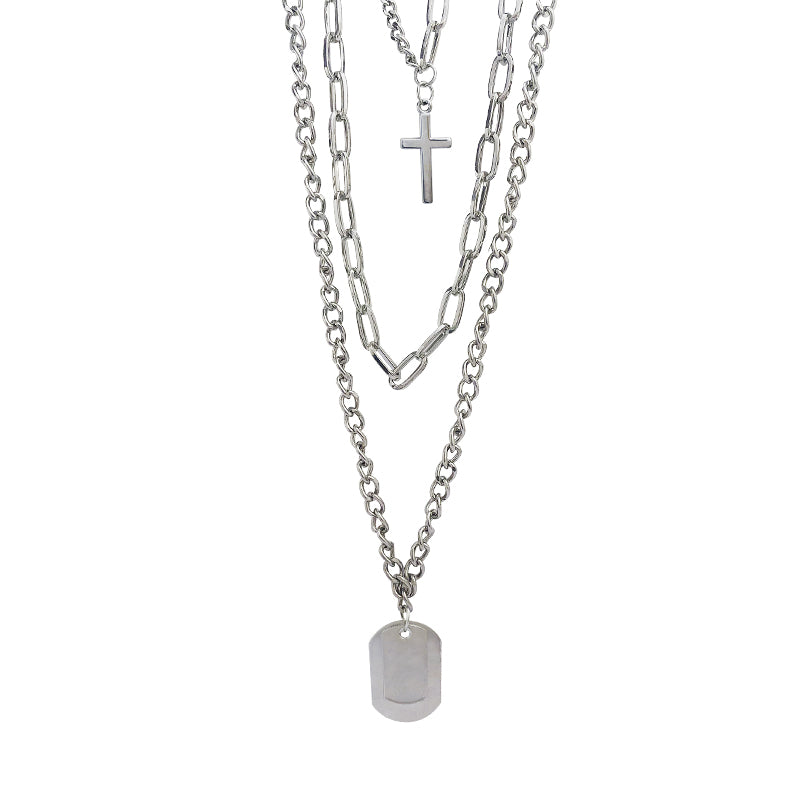 New Cross Square Metal Multilayer Necklace - ALFSIXTYONE