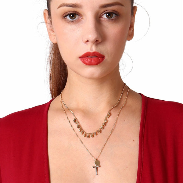 Boho Layered Iron Cross Choker Necklace - ALFSIXTYONE
