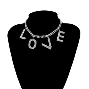 Luxury Crystal Love Letter Choker Necklace