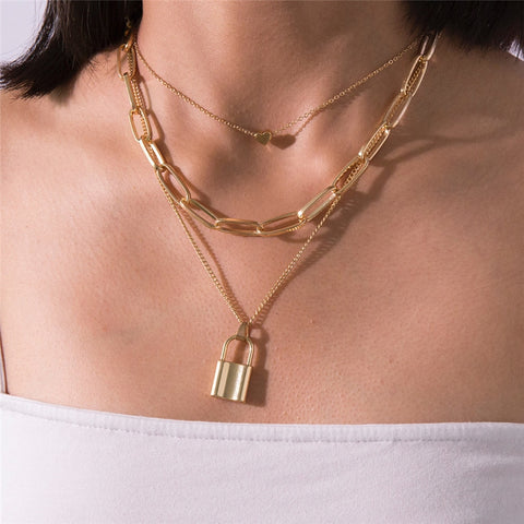 Multi Layer Lover Lock Pendant Choker Necklace