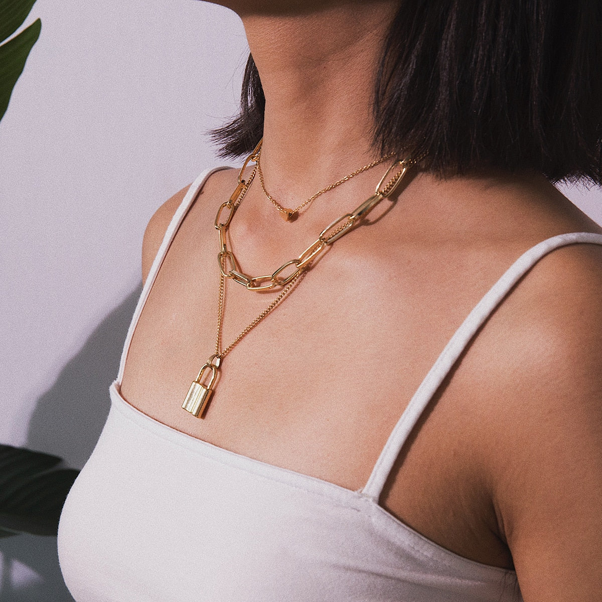 Multi Layer Lover Lock Pendant Choker Necklace - ALFSIXTYONE