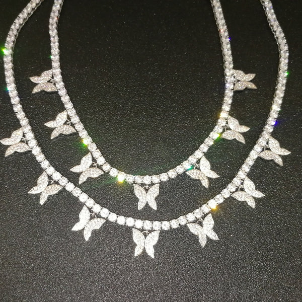 Iced Out Bling Butterfly Choker Necklace - ALFSIXTYONE