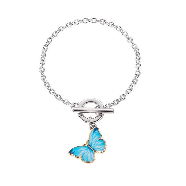 New Purple Blue Butterfly Pendant Necklace - ALFSIXTYONE