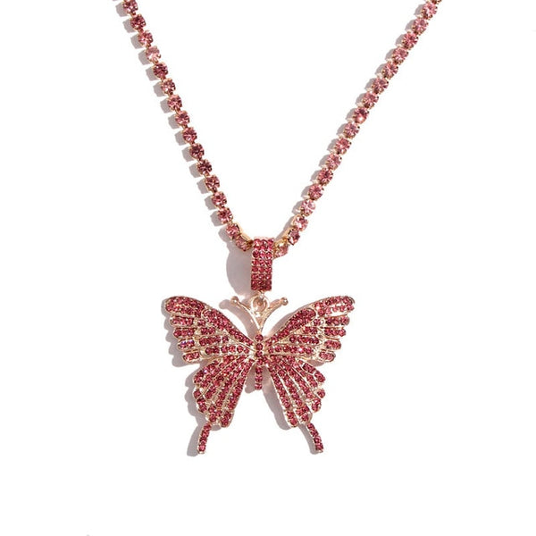 Rhinestone Big Butterfly Pendant Necklace - ALFSIXTYONE
