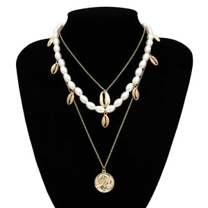 Multilayer Pearl Shell Choker Necklace - ALFSIXTYONE