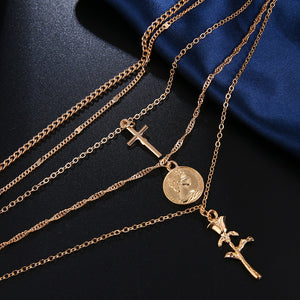 Multiple Layers Flower Cross Collar Necklaces - ALFSIXTYONE