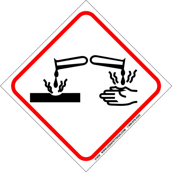 Global Harmonized System (GHS) Corrosion Hazard Pictogram (4 x 4) - 31839V