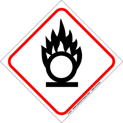 Global Harmonized System (GHS) Oxidizing Flame Over Circle Pictogram (4 x 4) - 31844V