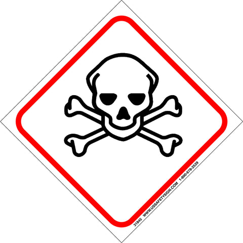 Global Harmonized System (GHS) Skull & Crossbones Hazard Pictogram (4 x 4) - 31845V