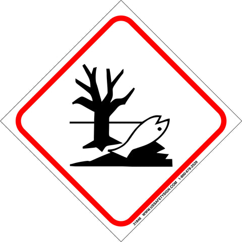 Global Harmonized System (GHS) Dangerous For Environment Pictogram (4 x 4) - 31846V