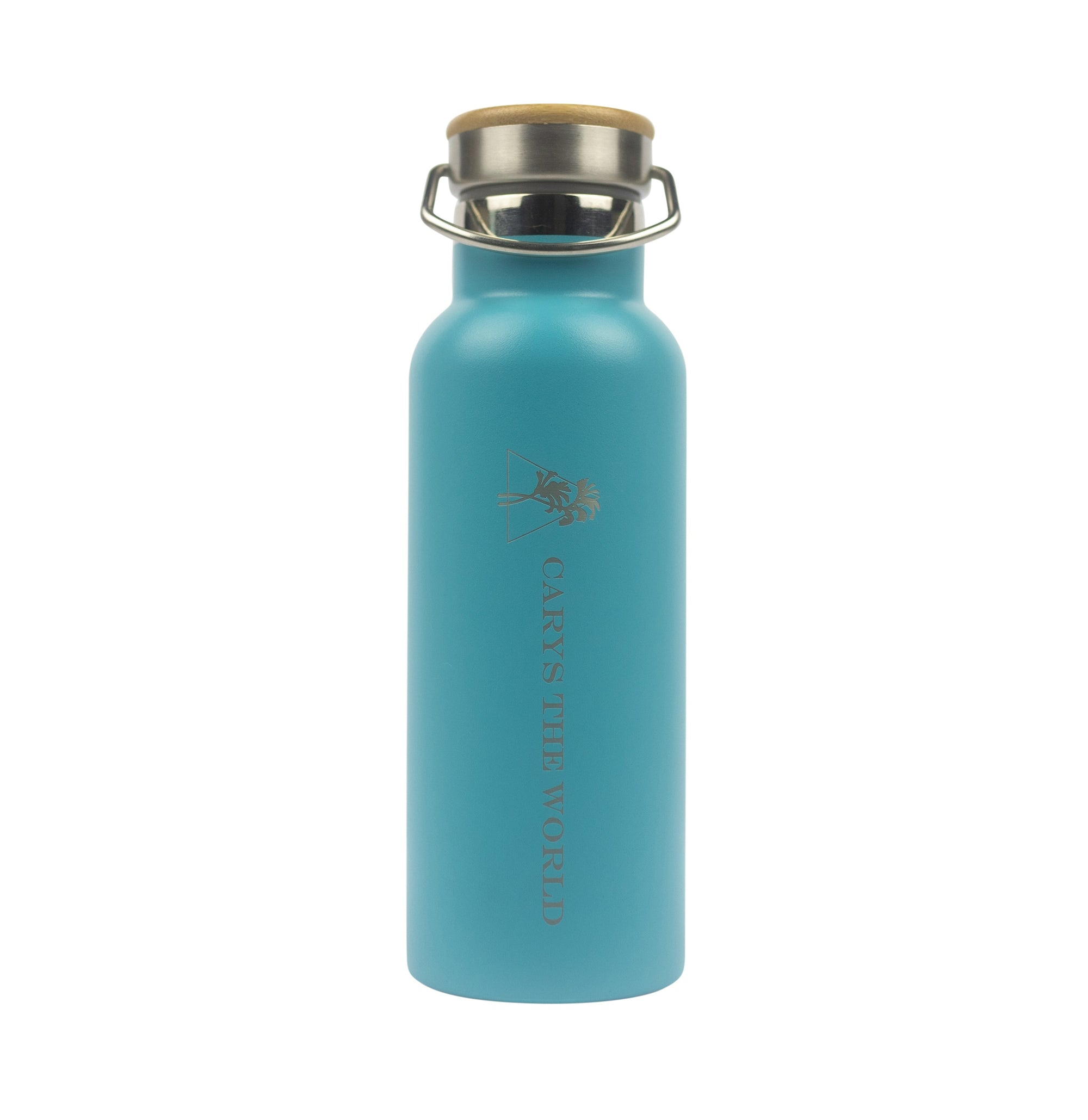 500ML Stainless Steel Drink Bottle Aqua - Carys The World Bamboo Bottle Brush