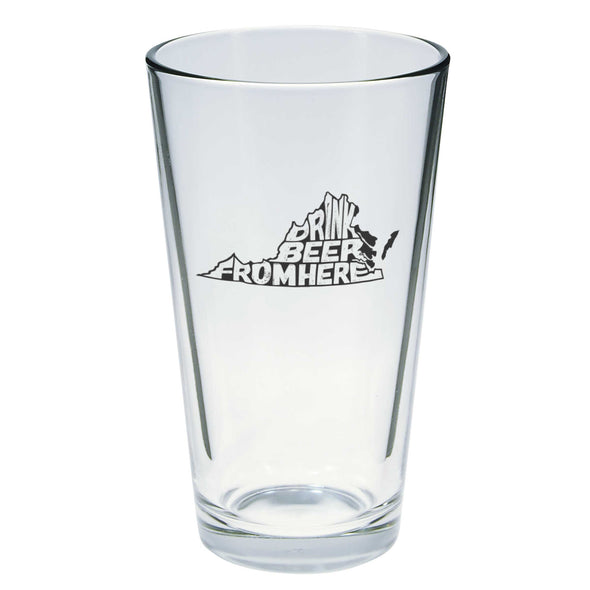 Drink Beer From Here Pint Glass - Virginia