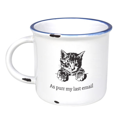 Cat/As Purr My Last Email - Ceramic Camping Mug with Light Distressed Look