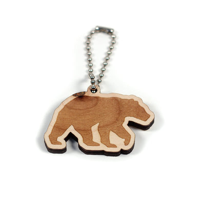 Grizzly Bear Wooden Keychain