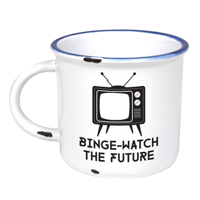 Binge Watch The Future - Ceramic Camping Mug with Light Distressed Look