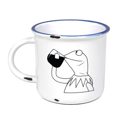 Kermit Sipping Tea - Ceramic Camping Mug with Light Distressed Look