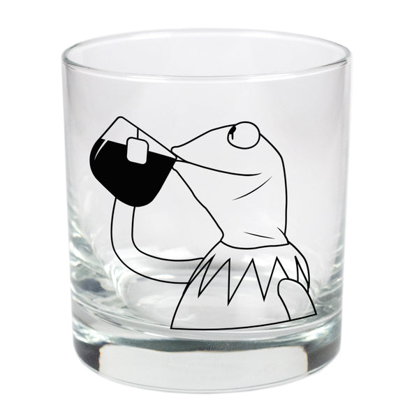 Kermit Sipping Tea  - 11 oz Stylized Rocks Glass