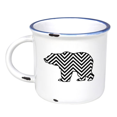 Chevron Grizzly - Ceramic Camping Mug with Light Distressed Look