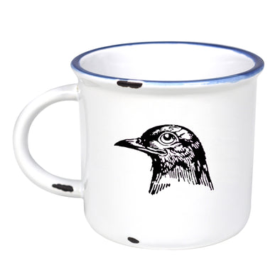 Crow - Ceramic Camping Mug with Light Distressed Look