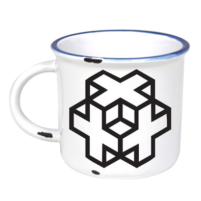 Geometric Cross Cube - Ceramic Camping Mug with Light Distressed Look