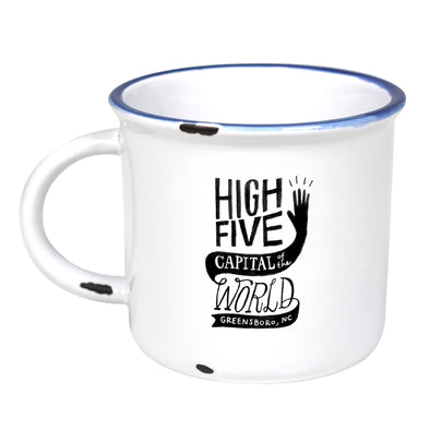 Greensboro: High Five Capital Of The World - Ceramic Camping Mug with Light Distressed Look