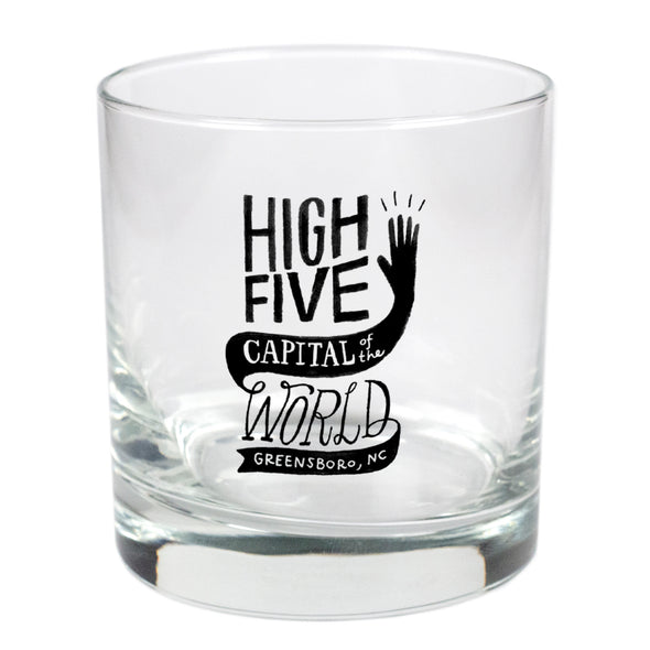 Greensboro: High Five Capital Of The World  - 11 oz Stylized Rocks Glass