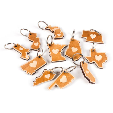 heart Wooden Keychain - (20 pack) Squam Lake