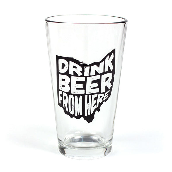 Drink Beer From Here Pint Glass - Wisconsin