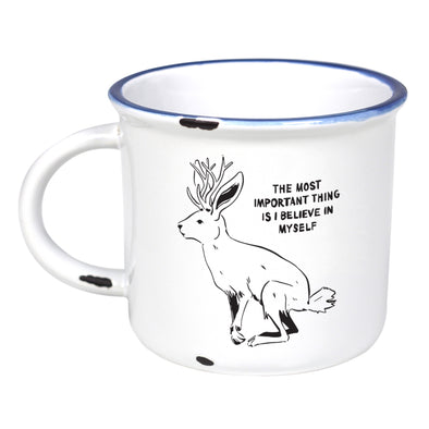 Imaginary Creatures: Jackalope - Ceramic Camping Mug with Light Distressed Look