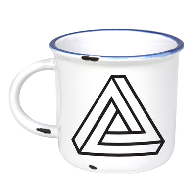 Impossible Triangle - Ceramic Camping Mug with Light Distressed Look