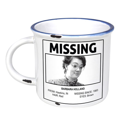 Missing Poster: Barbara Holland - Ceramic Camping Mug with Light Distressed Look