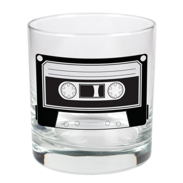 Old School Cassette Tape  - 11 oz Stylized Rocks Glass