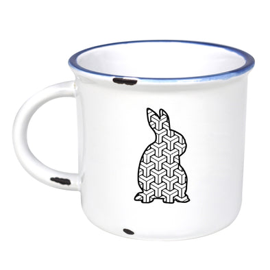 Psychadelic Bunny - Ceramic Camping Mug with Light Distressed Look