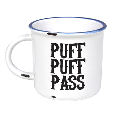 Puff Puff Pass - Ceramic Camping Mug with Light Distressed Look