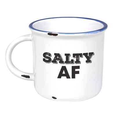 Salty AF  - Ceramic Camping Mug with Light Distressed Look