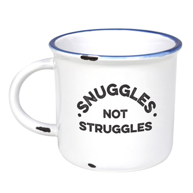 Snuggles Not Struggles  - Ceramic Camping Mug with Light Distressed Look