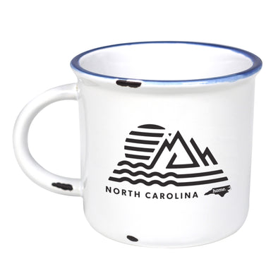 NC Surf to Summit - Ceramic Camping Mug with Light Distressed Look