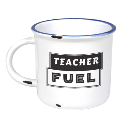 Teacher Fuel  - Ceramic Camping Mug with Light Distressed Look
