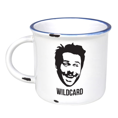Wildcard Charlie - Ceramic Camping Mug with Light Distressed Look
