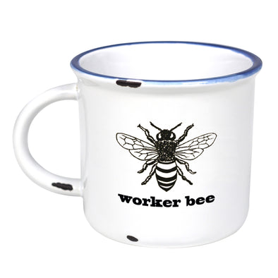 Worker Bee - Ceramic Camping Mug with Light Distressed Look