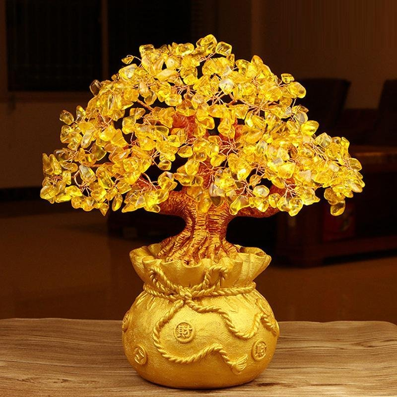 Citrine Money Tree Gemstone Ornament - Feng Shui for Prosperity