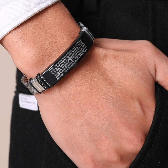 Stainless Steel Christian Lord's Prayer Bracelet (Español)
