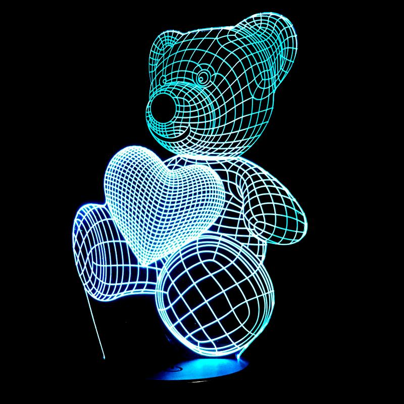 Cartoon Cute Heart Bear, LED Night Lights - The Best Tec