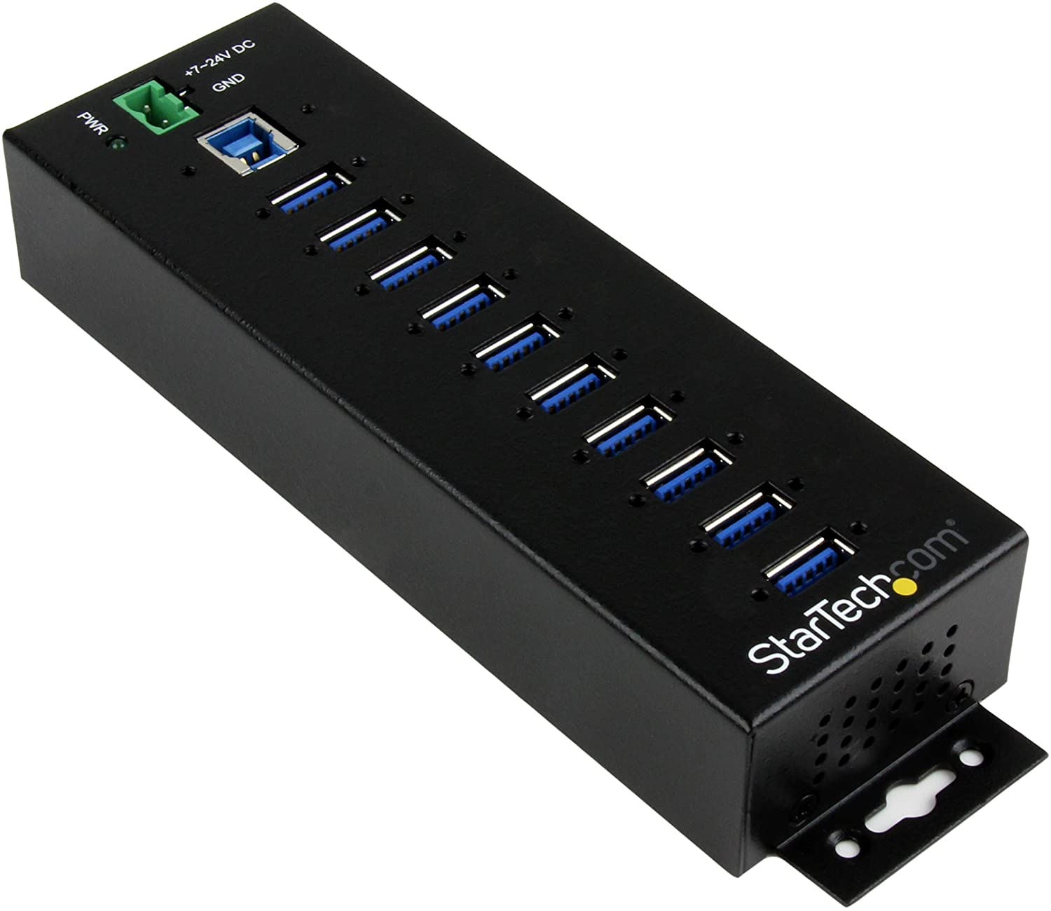 10 Port USB Hub w- Power Adapter - Metal Industrial USB 3.0 Data Hub - Din Rail, Wall & Desk Mount USB 3.1 Gen 1 5Gbps Hub