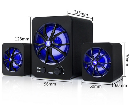 Mini Bass Speaker for Laptop Desktop Colorful LED Multimedia