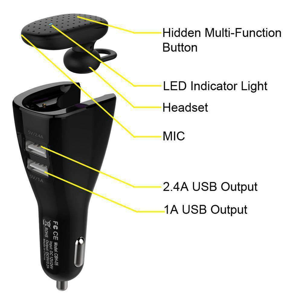 Bluetooth Headset with Dual USB Port Car Charger for Android