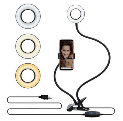 LED Selfie Ring Light  & Phone Holder Adjustable Light w/ 8 cm Stand USB Powered
