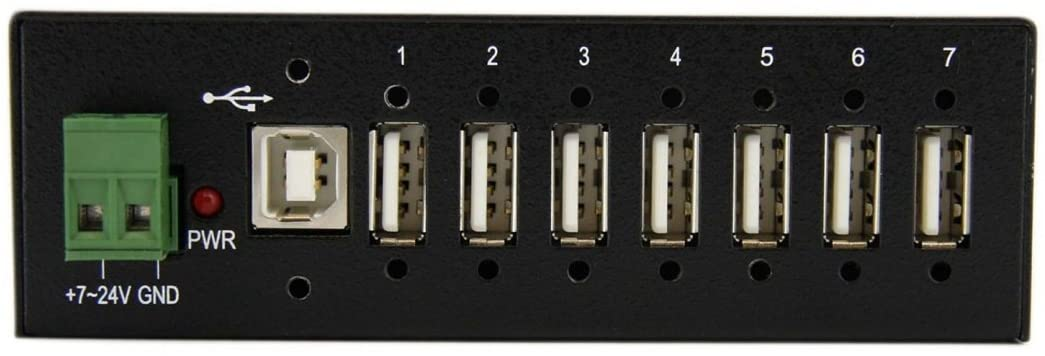 7-Port Industrial USB 2.0 Hub w/ ESD & 350W Surge Protection  Multiport Mountable