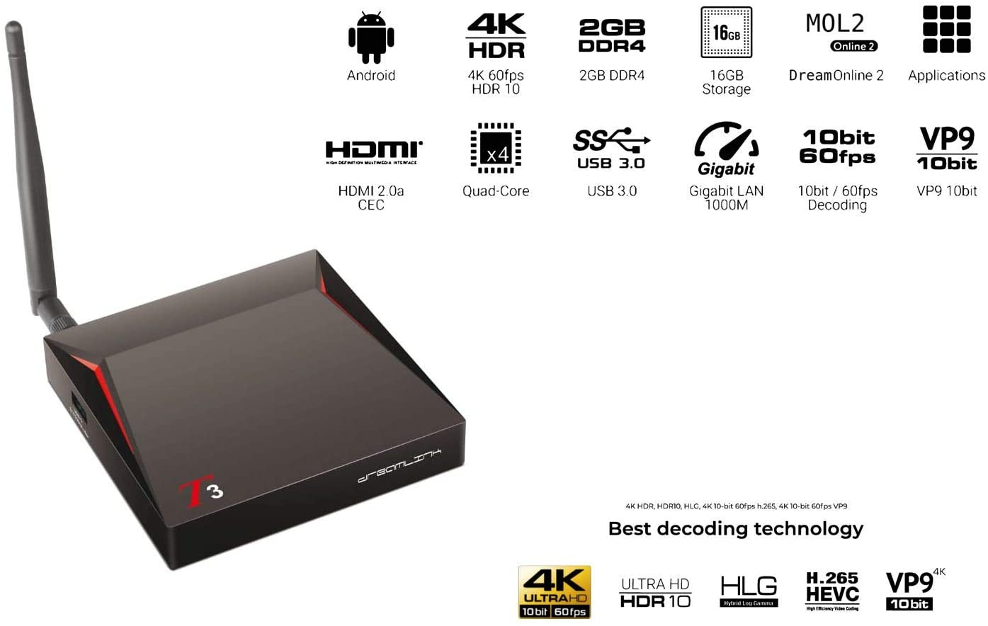 DREAMLINK T3 Ultimate 4K UHD 2GB DDR4 + 16GB | Dual band Gigabit WIFI